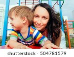 mother and son on the... | Shutterstock . vector #504781579