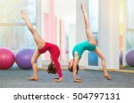 flexible kids gymnasts doing... | Shutterstock . vector #504797131