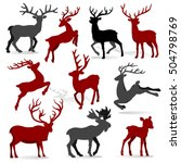 collection of reindeer with... | Shutterstock .eps vector #504798769
