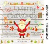 christmas poster in retro style ... | Shutterstock .eps vector #504800005