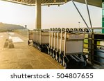 baggage trolleys at out side of ... | Shutterstock . vector #504807655
