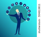 acrobat. businessman juggling... | Shutterstock .eps vector #504813811