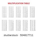 multiplication table. vector... | Shutterstock .eps vector #504817711