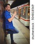 handsome man using digital... | Shutterstock . vector #504818569