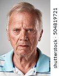 Stock photo portrait of real old white caucasian man with no expression id or passport photo full collection of 504819721