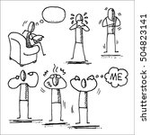 stick people and emotions. hand ... | Shutterstock .eps vector #504823141