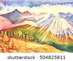 watercolor mountains autumn... | Shutterstock . vector #504825811