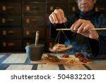 man measuring ingredients in... | Shutterstock . vector #504832201