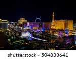 Stock photo aerial view of las vegas strip in nevada as seen at night usa 504833641
