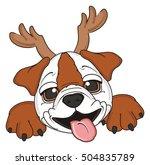 funny muzzle of bulldog in... | Shutterstock . vector #504835789
