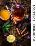a cup of black tea. honey ... | Shutterstock . vector #504837001