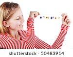 Young beautiful girl wearing fashion handmade bijouterie