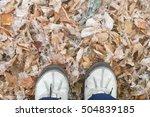 walking outside after snowfall... | Shutterstock . vector #504839185