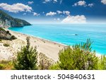 milos beach on lefkada island ... | Shutterstock . vector #504840631