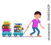 school boy kid pulling wagon...   Shutterstock .eps vector #504853429