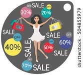 icon sale. cute girl shopping.... | Shutterstock .eps vector #504855979