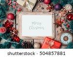 christmas photo frame mock up... | Shutterstock . vector #504857881