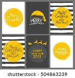 christmas gift tags and cards... | Shutterstock .eps vector #504863239