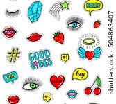 vector hand drawn seamless... | Shutterstock .eps vector #504863407
