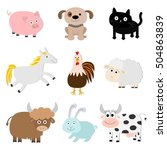farm animal set. pig  cat  cow  ... | Shutterstock .eps vector #504863839