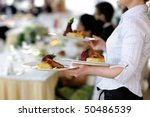 waitress is carrying three... | Shutterstock . vector #50486539