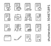 documents vector line icons set ... | Shutterstock .eps vector #504871891