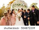 wedding guests. bride and groom ... | Shutterstock . vector #504872239