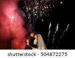 wedding fireworks. bride and... | Shutterstock . vector #504872275