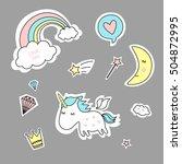 quirky cartoon patch | Shutterstock .eps vector #504872995