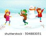 winter kids vector illustration....   Shutterstock .eps vector #504883051