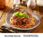 spaghetti and meatballs dinner... | Shutterstock . vector #504890581