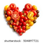 heart shape by various tomatoes