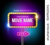 cinema billboard now showing.... | Shutterstock .eps vector #504902041