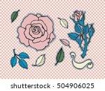 rose tattoo set. sticker  patch ...   Shutterstock .eps vector #504906025