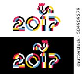 new year design with silhouette ... | Shutterstock .eps vector #504909379