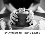 woman potter hands makes on the ... | Shutterstock . vector #504913351