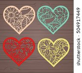 set stencil lacy hearts with... | Shutterstock .eps vector #504917449