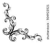 vintage baroque corner scroll... | Shutterstock .eps vector #504923521