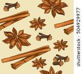 seamless pattern of stars anise ... | Shutterstock .eps vector #504929977