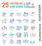 set vector line icons in flat... | Shutterstock .eps vector #504935899
