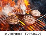 cooking burgers on hot grill...   Shutterstock . vector #504936109