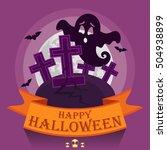 vector halloween spooky. happy... | Shutterstock .eps vector #504938899