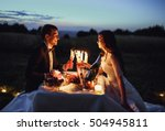 romantic couple drinking... | Shutterstock . vector #504945811