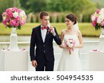 groom drink champagne during... | Shutterstock . vector #504954535