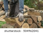 Lumberjack Holding A Wooden Lo...
