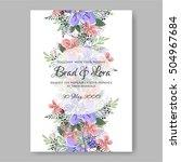 romantic pink peony bouquet... | Shutterstock .eps vector #504967684