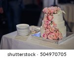 classy wedding cake decorated... | Shutterstock . vector #504970705