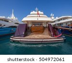 rear of a mega yacht on the... | Shutterstock . vector #504972061