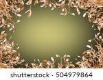 gold mistletoe on christmas... | Shutterstock . vector #504979864