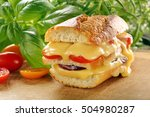 fresh toast with melted cheese... | Shutterstock . vector #504980287